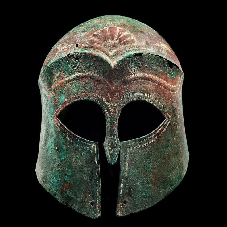 Archaic Bronze Helmet of the Corinthian Type  Culture : Archaic Greek  Period : second half of the 6th century B.C.  Material : Bronze  Dimensions : H: 24cm