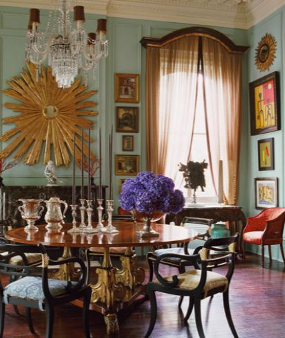 Designer Richard Keith Langham In New Orleans Via Elle Decor Gorgeous Turquoise Walls With Terrific Original Moldings Contemporary Styling Highlights