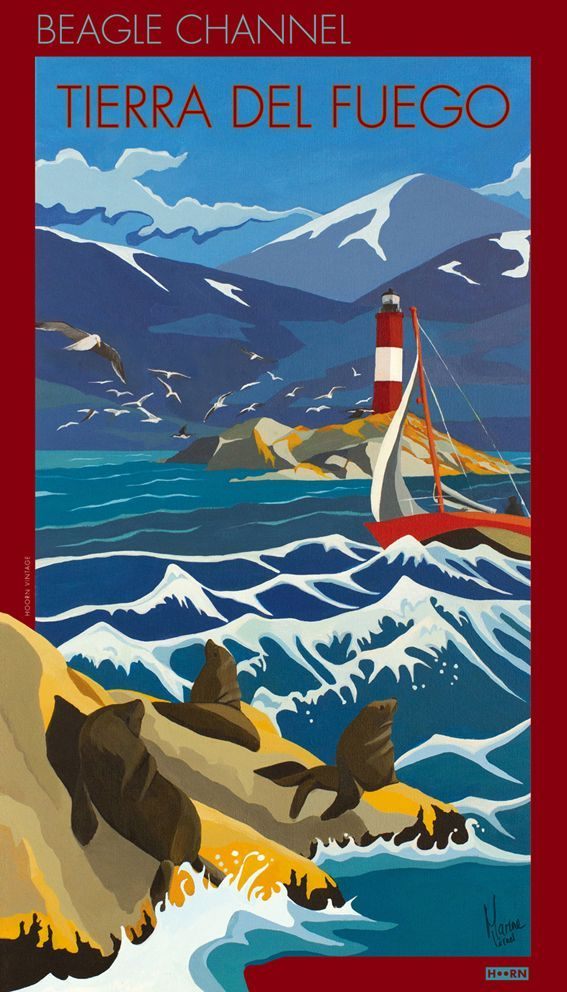 Quality travel posters inspired from the southern latitudes of Antarctica and Tierra del Fuego – Mount Olivia, Valle Mayor, Beagle Channel poster.