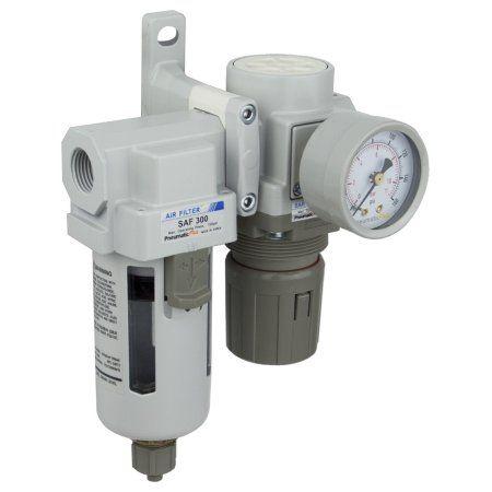 PneumaticPlus SAU320-N03G Compressed Air Filter Regulator Combo 3/8 inch NPT - Poly Bowl, Manual Drain, Bracket, Gauge