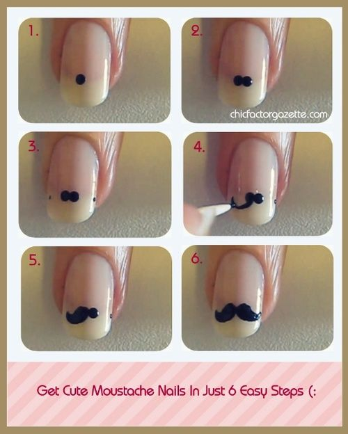 DIY Mustasche Nails! Cute! Want more of cute naildesigns ? Join www.bellashoot.com