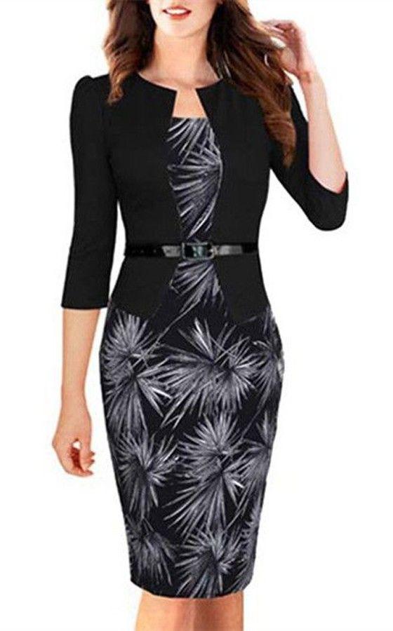 Black Floral Belt Square Neck Elegant Cotton Midi Dress
