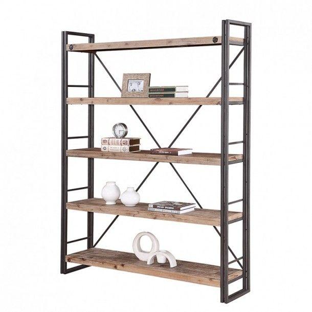 Interieurideeën | Stellingkast ruw hout en zwart metaal