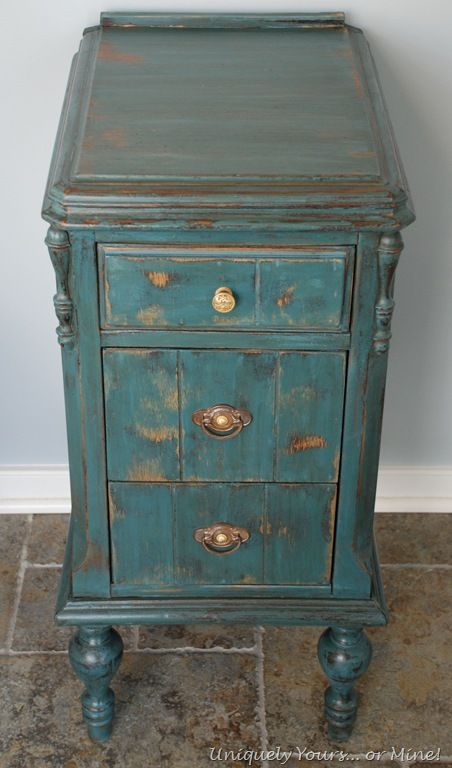 Best Vintage Aubusson Blue Painted Nightstand One Side Of Old 640 x 480