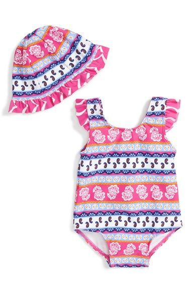 Tucker + Tate One-Piece Swimsuit   Sun Hat (Baby Girls) available at ... 016fadba9bd