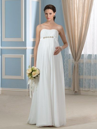 3a7a031af2f Strapless Beading Empire Waist Chiffon Pregnancy Maternity Wedding Dress