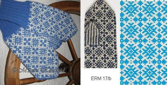 blue mittens, pattern from Estonian National Museum