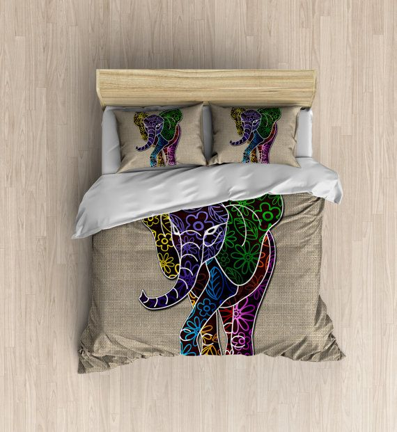 Elephant Bedding  Beautiful Burlap Look Duvet by  xOnceUponADesignx  INSTACOVER - 5% This duvet