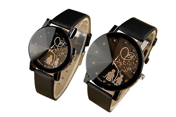 2016 влюбленных кварцевые часы женщины мужские наручные часы дамы кожа наручные часы мода кварц женский часы Relogio Feminino купить на AliExpress