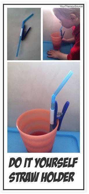 adaptando o copo com canudinho, para crianças com mobilidade reduzida de membros…