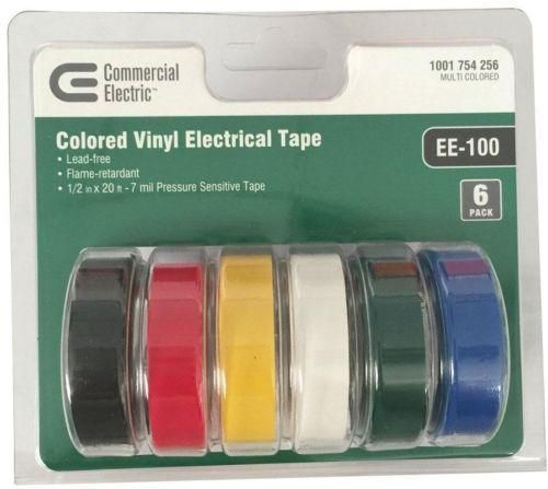 Commercial Electric Long Lasting Electric Tape, Multi-Color (6-Pack)