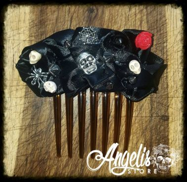 The Rose and Skull Black Satin Hair Comb