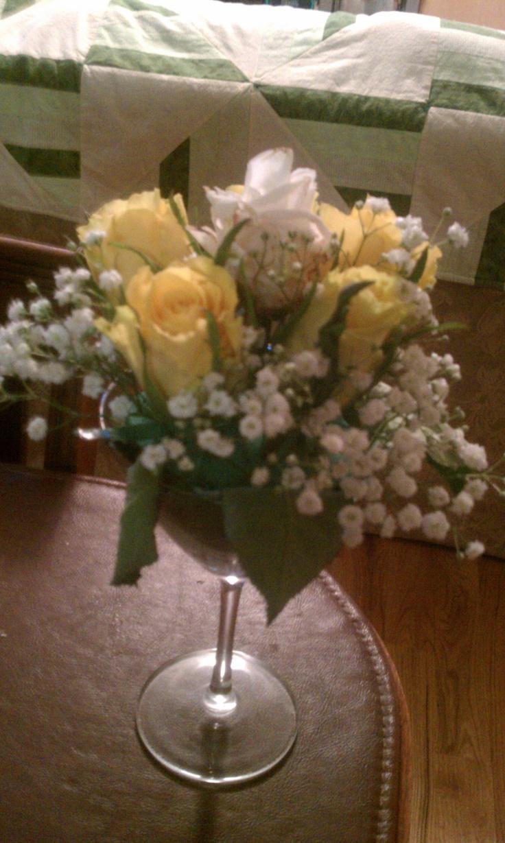 Flower centerpiece in a martini glass snowflower s