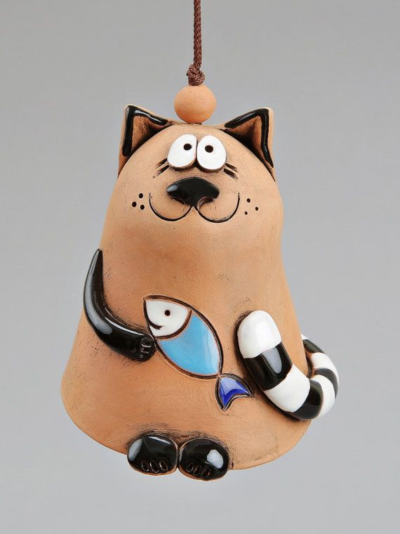 Ceramic Cat Bell Cat with Fish Kids toy School by Molinukas