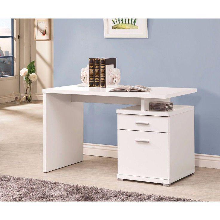 Benjara 48 in rectangular white 2 drawer computer desk