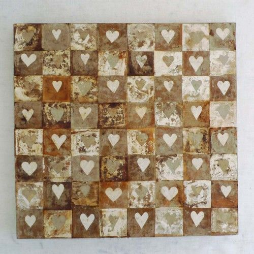 Stretched canvas picture with 64 hand painted / crafted recycled tea bags.