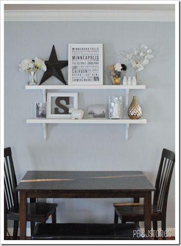Shelf arrangement idea for dining room wall Best 25  Dining room floating shelves ideas on Pinterest   Wood  . Shelf Ideas For Dining Room. Home Design Ideas