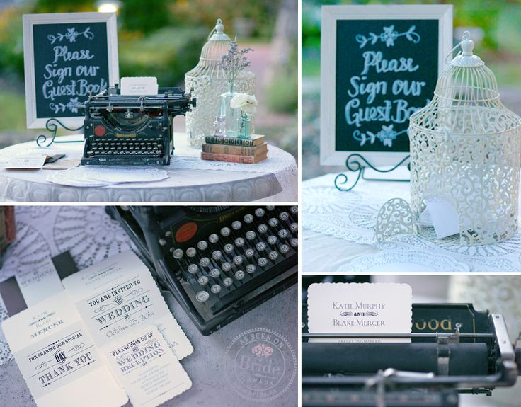 This vintage inspired wedding invitation suite and typewriter make a perfect pair. As seen on BRIDE.Canada