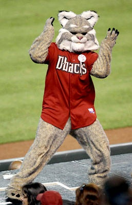 D. Baxter, the Bobcat mascot of the Arizona Diamondbacks (D-backs).