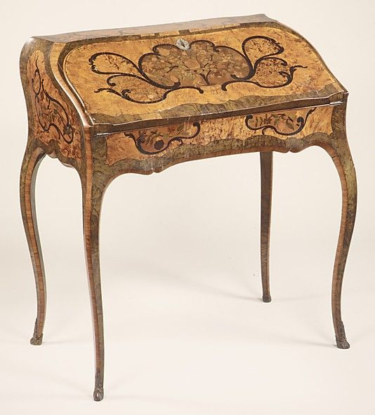 Slant-top desk. Jean-François Hache (fils, called Hache l'ainé)  (1730–1801/2).  Date:     ca. 1760–65. Culture:     French (Grenoble). Medium:     Walnut, kingwood and various marquetry woods, some stained