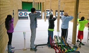 Indoor/outdoor archery range includes eight shooting lanes with shooting distances between 10 and 30 yards