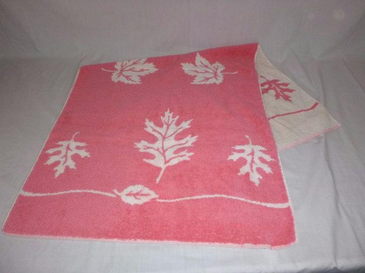 Vtg Cannon Bath Towel Salmon Pink Sculpted Oak Maple Tree Leaves