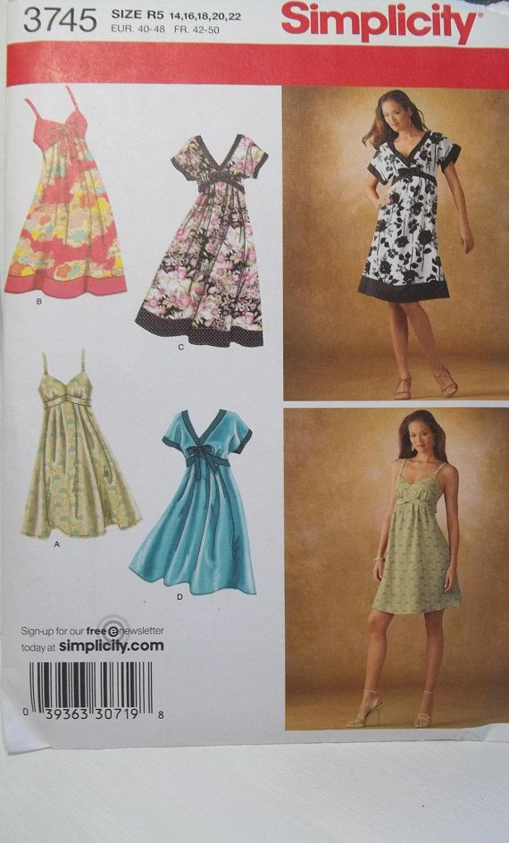 Misses\' Empire Waist Dress Simplicity 3745 Sewing Pattern ...