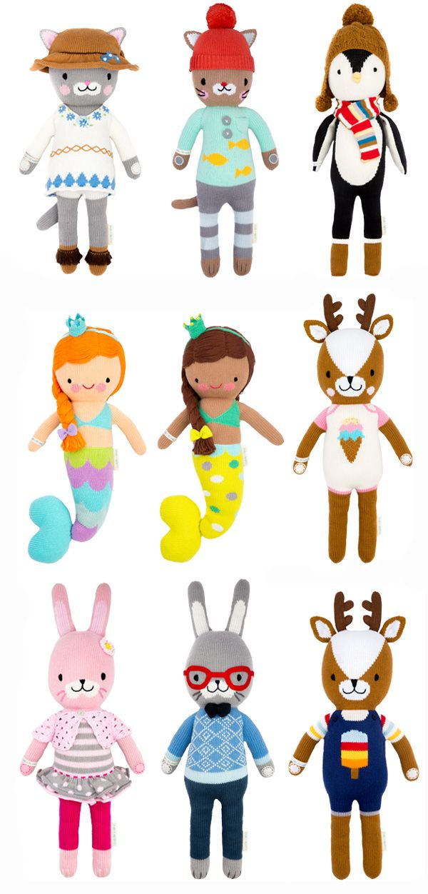 cuddle + kind handmade dolls. for each one purchased, ten meals are donated to children in need.