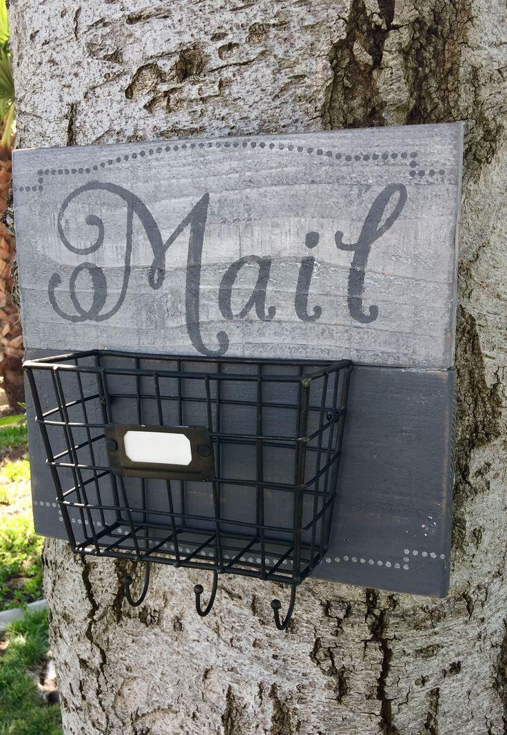 Mail organizer, Mail sorter, Mail sign, Key storage, Key holder, distressed wood, fence wood by ReKLaimedDesigns on Etsy