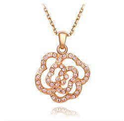 Pink Gem Gold Rose Pendant Necklace