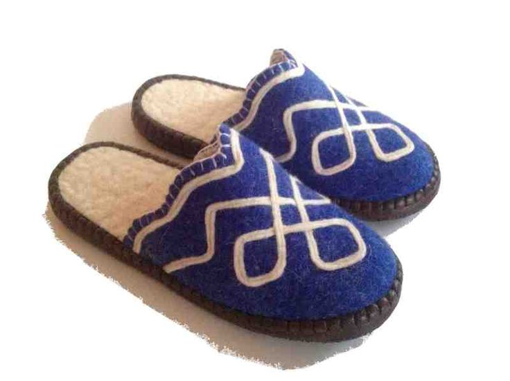 These beautiful fair trade felt slippers are handmade from high quality, Mongolian sheep wool with soft leather sole.