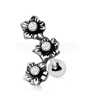 316L Stainless Steel Triple Flower Cartilage Earring Crafted from 316L Stainless Steel, this elegant piece of jewelry features 3 beautiful flowers with Clear CZ perfectly inlaid in the center of each                                                                                                                                                                                  More