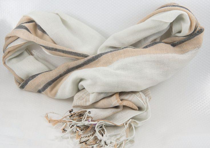Sjaal wit grijs en bruin