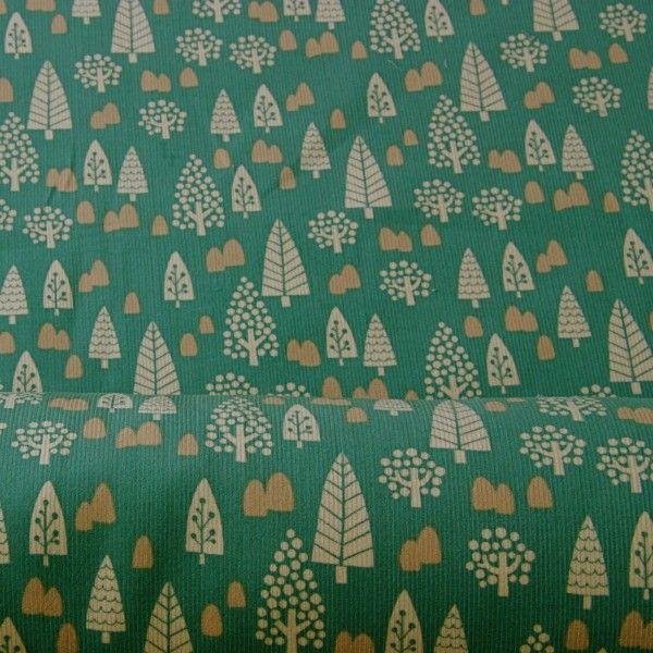Japanese Printed Needlecord - Jade Forest