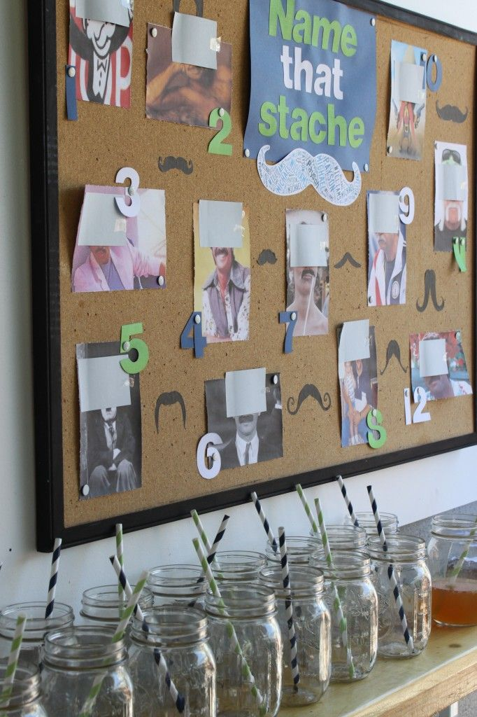 Mustache Party Game--we could post pictures of all the small group boys--hiding their upper face--placing mustaches on their faces!  I love the mason jars, below the board and have 40 of them...the boys can drink out of the mason jars! I will get the black and white straws!