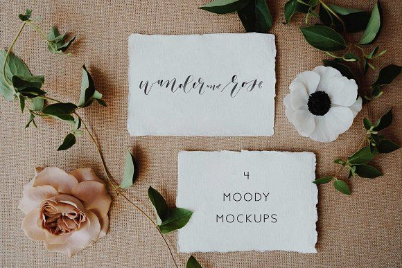 Moody Styled Invitation Mockups by Wander and Rose on @creativemarket