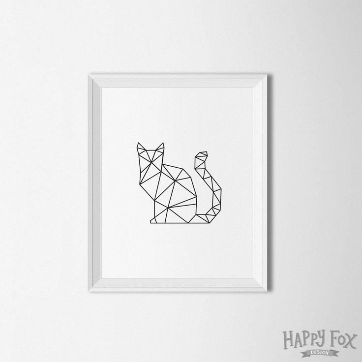Art géométrique de Cat Origami chat un décor par HappyFoxDesign
