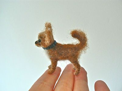 OOAK Hand Needle Felted Mini Tiny Chihuahua Dog by Wool Artist Annette Farrell 1:6 Scale