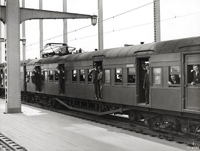 First Electric Train on Main Span [from the Sydney Harbour Bridge photo albums] Dated: 11/3/1932