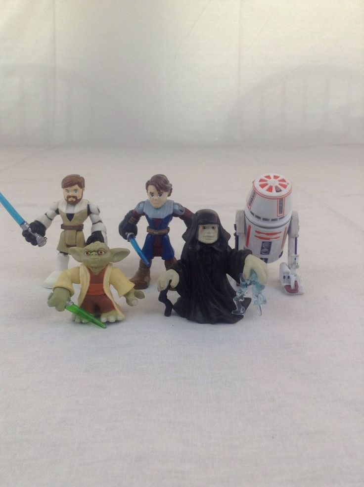 Preowned Lot Of 5 Star Wars Galactic Heroes Action Figure Toy (2) Pretend Play #Hasbro