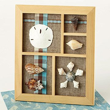 Framed Shells  Play with perspective by using a photo frame and shells. Remove the frame's glass. On the frame's backing, add a piece of beach-theme paper, and adhere ribbon. Replace the backing. Hot-glue shells onto spaces within the photo frame.