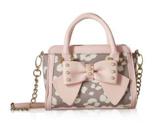 """Betsey Johnson Double Zip Top MIni Cross-body Satchel Shoulder Handbag - Grey Mutli - Fashion's in full bloom with this adorable bow Satchel shoulder mini crossbody bag from Betsey Johnson. Purse features PVC printed exterior, with studded Front Bow and Betsey Johnson signature hardware, Double top rolled handles with 3"""" drop, includes detachable Chain detailed cross-body strap with 21 drop, Double compartment zipper closure opens to fully lined interior with 1 wall zipper pocket, Compact…"""