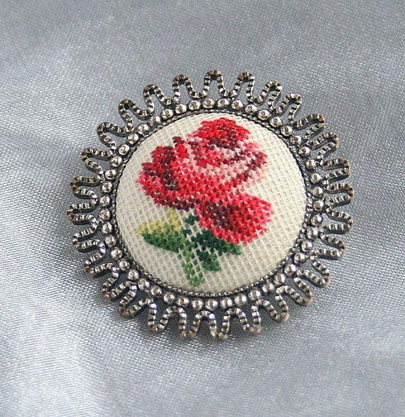 Vintage Petit Point Brooch Pin Small by CamanoIslandVintage.