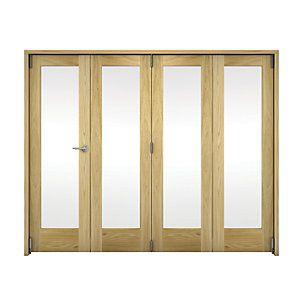 Wickes Ashton Internal Folding Door Oak Veneer Glazed 1 Lite 2047x2545mm