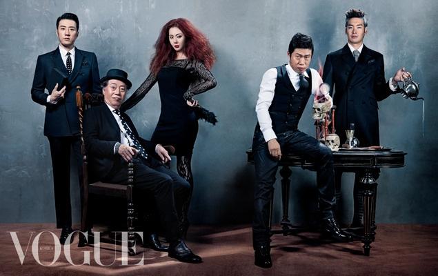 """Kim Myung-Min, Byun Hee-Bong, Yum Jung-Ah, Yu Hae-Jin y Jung Gyu-Woon. (Reparto de la película """"The Spies"""")."""
