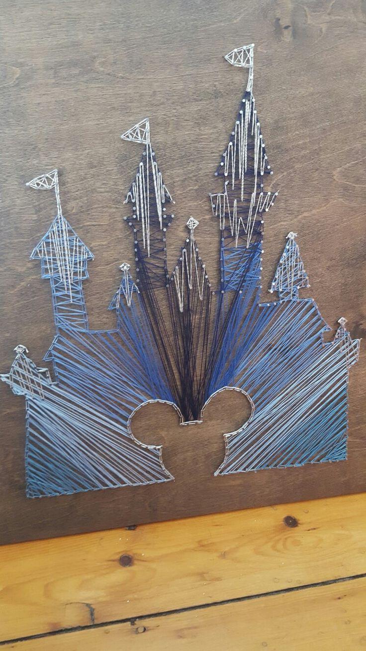 yarn art color garden : Diy Disney Castle Silhouette String Art By Casey Bergen