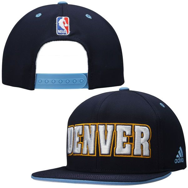 fdc8774ed7f Mens Denver Nuggets adidas Navy Blue NBA Team Nation Snapback Hat ...