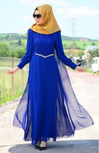 Tesettür Elbise FY 52264-03 Saks
