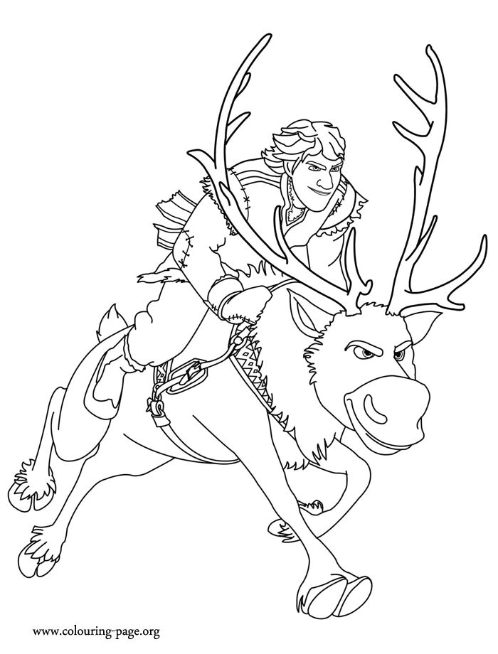 what about coloring this amazing picture of kristoff and sven they are characters from disney
