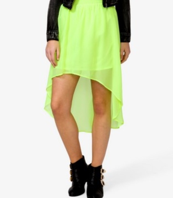 neon high low skirt neon glow in the